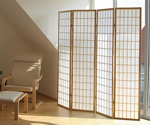 PEGANE Biombo japonés Shoji de Madera Naturel de 4 Paneles