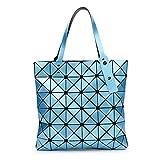 La piegatura Quilted Borse donna diamanti laser geometria estate sacchetti femmina Plaid Top-Handle Bag Fake designer borsette blu cielo borsette 32.5x32.5cm