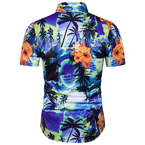 Honghu Herren Sommer Handabdrücke kurze Ärmel Hemd Hawaii Strand Shirt Blau