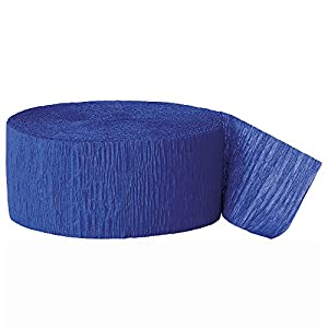 Unique Party- Serpentina de papel crepé para fiestas, Color azul rey, 24 cm (6345)