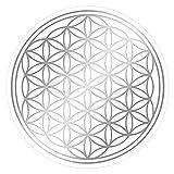 atalantes spirit Blume des Lebens-Aufkleber Abriebfest - Farbe Silber - Ø 3 cm - 10 Stück - Druck auf Transparenter Folie - Lebensblume-Sticker im Set