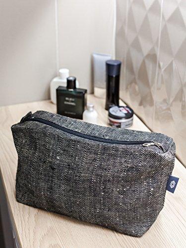 Handgemachter Großer Kulturbeutel, Schwarz Leinen Toilettenbeutel, Naturleinen Kosmetiktasche (Duschgels Verschiedene)