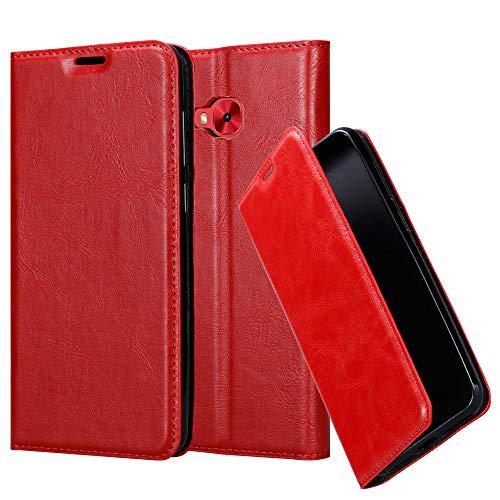 Cadorabo Hülle für ASUS ZenFone 4 Selfie PRO - Hülle in Apfel ROT – Handyhülle mit Magnetverschluss, Standfunktion und Kartenfach - Case Cover Schutzhülle Etui Tasche Book Klapp Style