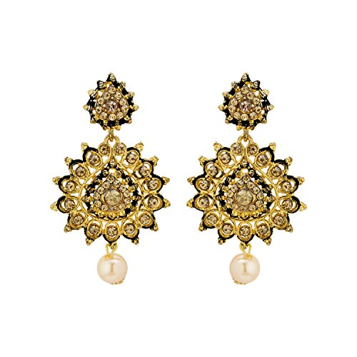 Nia Sparkling Pair of Earrings With Pearl Drop For Women  available at amazon for Rs.99