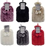 Hot Water Bottles with Luxury Faux Fur & Pom Poms by Country Club 2 Litre