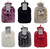 Hot Water Bottles with Luxury Faux Fur & Pom Poms by Country Club 2 Litre (Grey)
