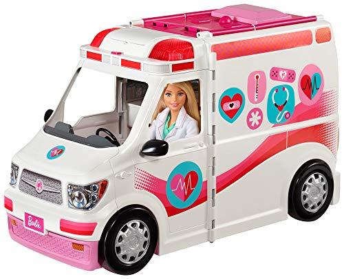 Barbie FRM19 - 2-in-1 Krankenwagen, aufklappbares Fahrzeug mit Licht und Geräuschen, Puppen Spielset mit Zubehör, Mädchen Spielzeug ab 3 Jahren