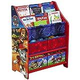 TW24 Kinderbücherregal mit 4 Boxen Paw Patrol Kinderregal Aufbewahrungsregal Kinder Standregal Holz Regal für Spielzeug Kindermöbel