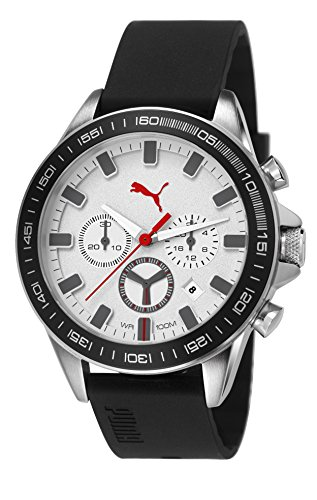 Puma Cyclone Chrono Men's Quartz Watch with Silver Dial Analogue Display and Black PU Strap PU103621004
