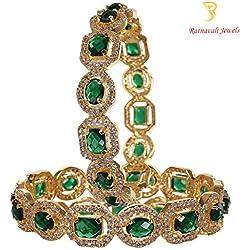 Ratnavali jewels American Diamond Studded Gold Plated Traditional Emerald Green CZ/Diamond Bangles for Women/Girls RV1938