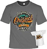 Geburtstag T-Shirt 40 Jahre Original seit 1977 Shirts 4 Heroes bedruckt Geschenk-Set mit Mini Flaschenshirt