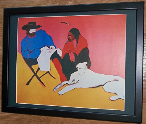 Montiert und gerahmt, indisch, 30,5x 40,6cm gerahmt, Indian, Hund mit Friend von Fritz Scholder