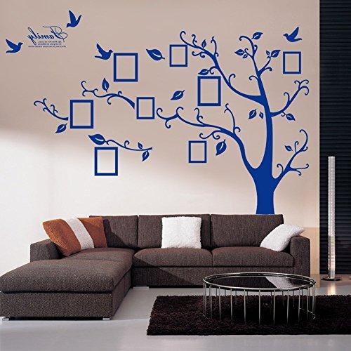 Single PVC Riesig Schwarz Bilderrahmen Speicher Baum Vine Zweig Abnehmbare Wandtattoo Stickers (links, blau)