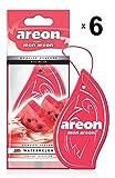Areon Mon Ambientador Coche Sandía Rojo Olor Fruit Casa Colgante Colgar Perfume Original Cartón Retrovisor Oficina 2D ( Watermelon Pack de 6 )