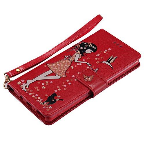 Galaxy Note 8 Hülle , Camiter Rosa Schönheit Mädchen Design Leder pu Magnetverschluss Wallet Case Schutzhülle Standfunktion Handytasche Hülle mit 9 Karteneinschub /Trageschlaufe und Spiegel für Samsun Girl Rot