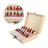 Cocoarm Fräsersatz 12tlg Fräsen Set Router Set Oberfräser Fräser Holzschneider Set Nutfräser Profilfräser Holzfräser mit Aufbewahrungsbox 8 mm Schaft (Rot)