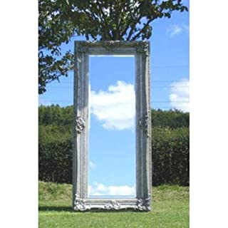Ayers and Graces Long Ornate Silver Rococo Mirror (7ft 2