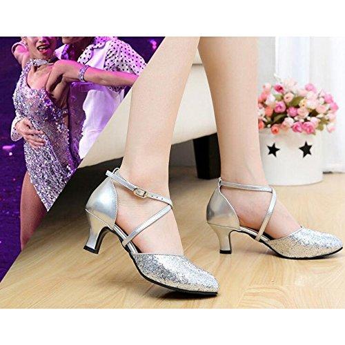 Salsa Frauen Sequins Praxis Silber Dance Mit Stiletto Für Ledersohle Latin Eastlion Tango Schuhe Ballsaal HFaEw