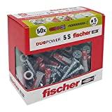 Fischer 50 Tasselli Duopower con Vite, 5 x 25 mm, per Muro pieno, Mattone Forato, Cartongesso, 544015