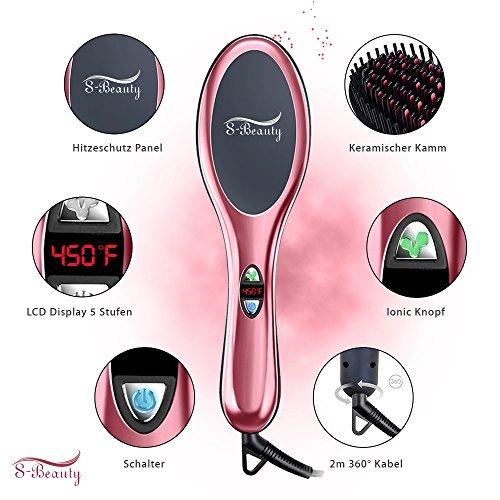 Glättbürste 3 in 1 - Keramische Haarglätter Bürste mit Überhitzungsschutz+ Antistatische Ionische Funktion+ Flexibler schwebender Bürstenkopf für besserer Kopfhaut Kontakt - neue in 2018