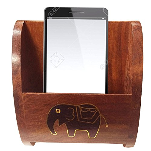 affaires-wooden-mobile-stand-carved-with-elephant-inlaidgift-for-christmas-or-birthday-to-your-loved