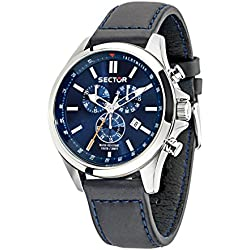 Sector No Limits 180 Men's Quartz Watch with Blue Dial Chronograph Display and White Leather Strap R3271690014