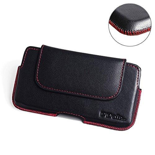 PDAir Oppo R1x Echtleder Handyhülle Tasche (Rot Stich), Leder Tasche mit Gürtelclip, Gürtel Hülle Handyhülle Hülle, Handarbeit Luxus Halfter Tasche Für Oppo R1x