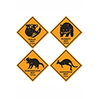 A Beistle Creation Australian Party Outback Road Sign Cut Outs