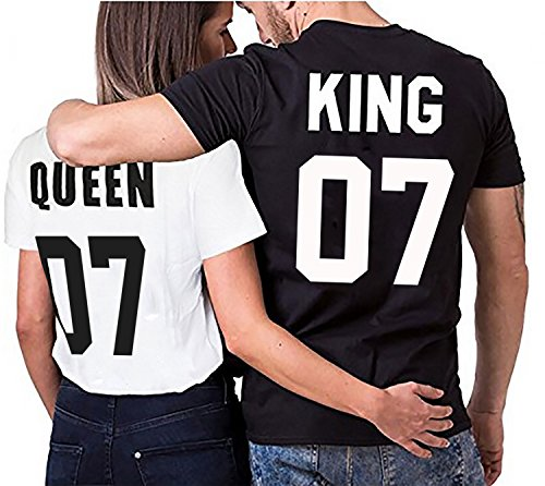 Partner Look Pärchen T-Shirt Set King Queen für Pärchen ALS Geschenk in versch. Farben S-4XL, Größe:S;Partner Shirts:Damen T-Shirt Weiß = Queen 07