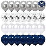 YMSZ Ballon Blanc Bleu, 50 pcs B...