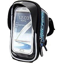 Bolsa bicicleta Impermeable Bolsa Funda Móvil de Bici Bolso del tubo Pantalla PVC Transparente para Manillar de Bicicleta para teléfono 5.5 inches (Azul)