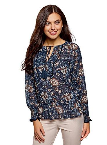 oodji Collection Mujer Blusa Estampada con Borlas y Gomas, Azul, ES 36 / XS