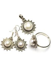 """stargems (TM) Natural Río perla Conjunto de joyería de plata de ley 925diseño único colgante 1""""; Anillo 83/4; Pendientes 11/4"""""""