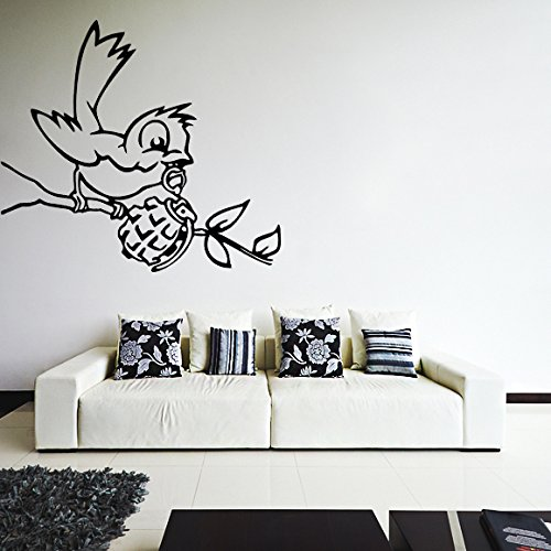 120 x 89 cm) -Banksy Wandaufkleber/Wandtattoo aus Vinyl, Motiv Vogel mit Granatapfel (Bomb/Graffiti Street Art Home Decor Wandsticker, abnehmbar, Vinyl, Random inkl. Geschenkverpackung -