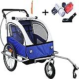 Stylehome® Kinderanhänger 2in1 Fahrradanhänger 360° drehbar Jogger Buggy Kinderwagen für 1-2 Kinder Radanhänger Transportanhänger mit Kupplung und Beleuchtung JG02-BW-002 (Blau-Weiss)