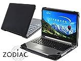 Navitech schwarzes premium portfolio leder Case / Cover Trage Tasche / speziell für das FUJITSU Notebook LIFEBOOK U745 & U904