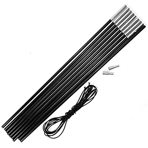Replacement Fibreglass Pole Kit Shock Corded Camping Tent Equipment Black 4.5M X 8.5MM 9 Sections