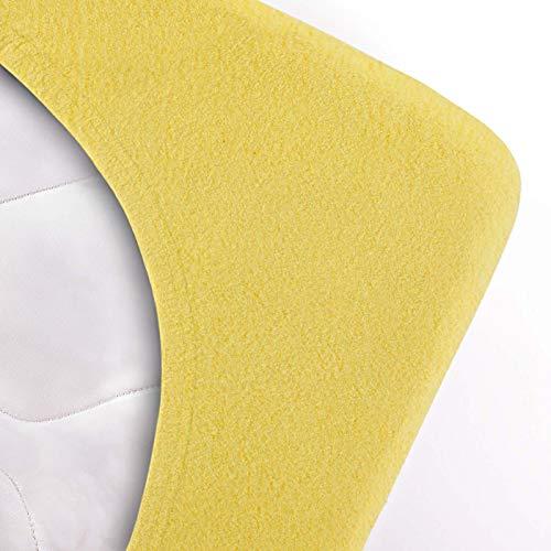 #10 Etérea Teddy Flausch Kinder-Spannbettlaken, Spannbetttuch, Bettlaken, 18 Farben, 60×120 cm – 70×140 cm, Gelb - 3