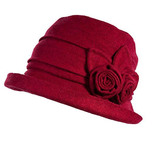 SIGGI Wolle rot 1920s Retro Glockehut Fischerhut für Damen Klassische klappbare Fedorahüte Bowler Hut Winter -