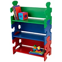 KidKraft 14400 Green, Blue & Red Puzzle Wooden Bookshelf for Kids, children