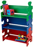 KidKraft 14400 Puzzle Regal aus Holz für Kinder in grün, blau und rot - Bücherregal Kinderzimmer Möbel