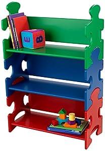 KidKraft- Estantería de madera con diseño de puzle verde, azul y rojo para niños, mueble expositor para dormitorio de niños, estantería con 3 estantes , Colores Primar (14400)