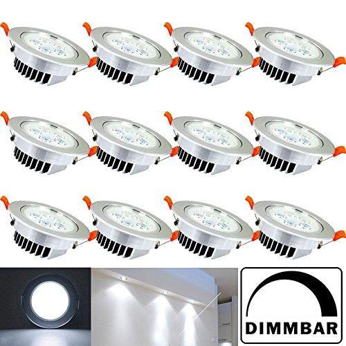 Hengda® 12X 5W LED Einbauleuchte Dimmbar Kaltweiß Silber Matt für das Bad geeignet Innenbeleuchtung 230v | Rund | Einbauspot | Deckenleuchten |