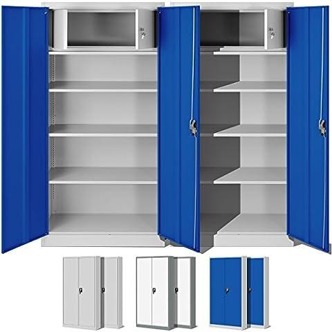 2er Set Büroschrank C001D mit Geheimfach, Aktenschrank, Metallschrank Universalk schrank Flügeltürschrank, Stahlschrank, Lagerschrank Ideal für Büro, Verschließbar (grau/blau)