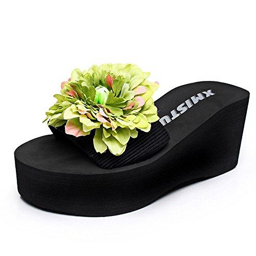 Pente avec sandales à talons hauts à bascule --- 7cm Chaussons de mode été Chaussons féminins antidérapants à talons hauts --- Herringbone fashion sweet Sandals #5