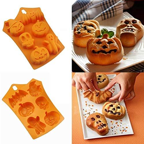 Enfei Creative Happy Halloween Décoration de maison en silicone citrouille Moule à Cake de cuisine outils de cuisson Moule à Cake en Silicone Molde de silicona Pastel (Drucken Happy Halloween Zum)