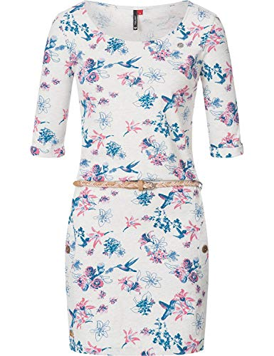 Ragwear Damen Jersey Minikleid Shirtkleid Blumenprint Tanya Flowers Weiß Gr. XL Flower Jersey Kleid