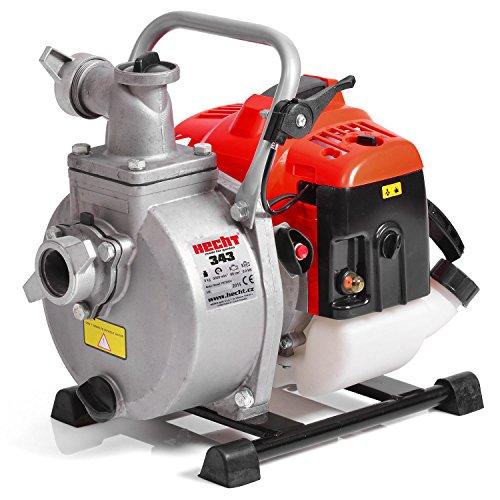 Hecht Benzin-Schmutzwasser-Pumpe 343 Motorpumpe für Teich Garten Oder Haus (2 PS, 15.000 l/h, 1,5 Zoll Anschluss, Förderhöhe 35 m)