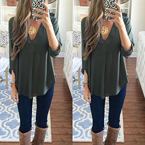 Bekleidung Longra Damen Mode Langarm Chiffon Bluse Shirt Tops Green
