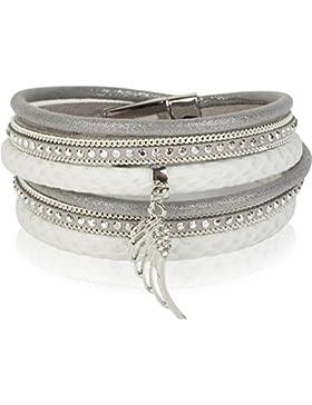 styleBREAKER Wickelarmband mit Strassnieten und Flügel Anhänger, Kette, Schuppen Optik, Magnetverschluss Armband...